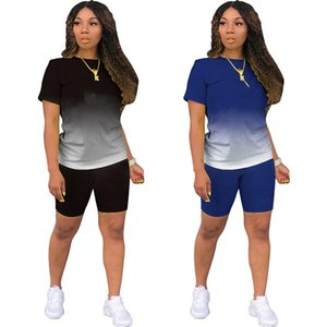 Summer Brand Womens 2 piece set gradient Tracksuits Shorts outfits short sleeve tops sportswear jogger sport suit shirt pants sweatshirt women clothes lw6482