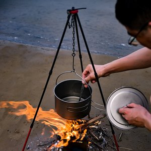 Adjustable Outdoor Campfire Picnic Cookware Tripod Ultra-light Portable Aluminum Alloy Hanging Hook Chain Cooking Pot Grill