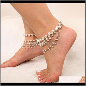 Simple And Tassel Elegant Foot Accessories Womens Beach Versatile Multilayer Imitation Pearl Anklet Ietdy Anklets 7Oh5A