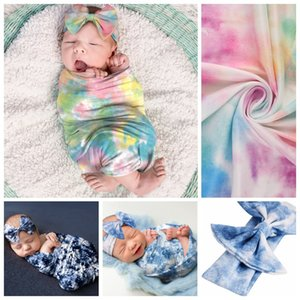 15701 Infant Baby Swaddle Wrap Blanket Gradient Wraps Blankets Nursery Bedding Babies Wrapped Cloth With Bowknot Headband Photo Props