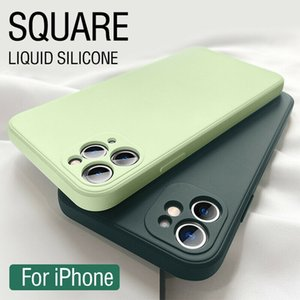 Luxury Ultra thin real Liquid Silicone Square Phone cases Original official 10 color For iPhone 12 11 Pro Max Mini XR XS X 8 7 Plus Shockproof Soft Candy Case Back Cover