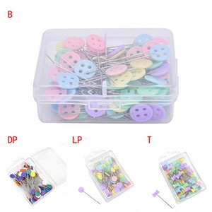 100Pcs lot Sewing Accessories Patchwork Flower Bow Tie Button Pins Sewing Pin With Box DIY Patchwork Pins Arts Crafts wjl1346