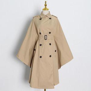 Women's Trench Coats [EWQ] Khaki Windbreaker For Female Lapel Collar Big Cuff High Waist Loose Oversized Sashes 2021 Fashion