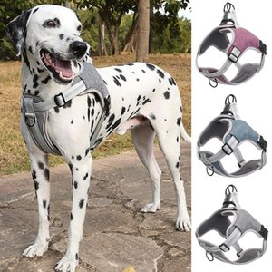 Dog Collars & Leashes Pet Harness Adjustable Reflective Vest Collar Breathable Walking Training Pets Harnesses Dogs Accessories
