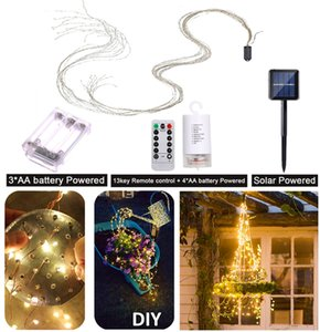 2M String lights Solar LED Tree Vines Fairy Branch Light Copper Silver Wire Battery Decor Lamp for Christmas Garden Patio