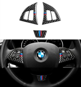 For BMW X5 X6 E70 E71 2008-13 Real Carbon Fiber Steering Wheel Button Decor Trim