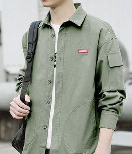 Shirt men's Long Sleeve Black autumn coat Korean fashion loose casual