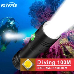 Flashlights Torches 100M Diving Led Torch Underwater Lamp Rechargeable Cree Xm L2 18650 26650 Flash Light Hunting Waterproof Stro