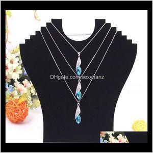 Other Packaging & Drop Delivery 2021 Black Veet Mannequin Cardboard Necklace Holder Rack Shelf Foldable Pendant Jade Jewelry Display Stand Ni