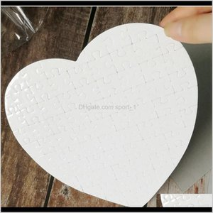 Event Festive Supplies Home Garden Drop Delivery 2021 Heart Shaped Puzzles 75Pieces Sublimation Blank Pearl Jigsaw Diy Puzzle Wedding Birthda