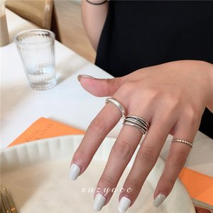 South Korea East Gate S925 Sterling Silver Cross Wound Multi Layer Ring Jewa