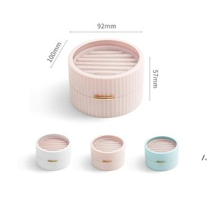 Mini Double Layer Flannel Jewelry Storage Boxes Round Protable Jewelries Package Holder for Ring Earring Bracelet Necklace AHD6057