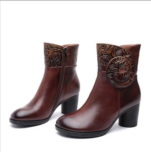 Hand-painted three-dimensional flower leather autumn and winter new style women's boots high-heeled middle tube ethnic style retro women's