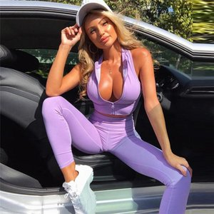 2021 Women Zipper Sleeveless Crop Top + Leggings Yoga Sets Gym Workout Outfit Sports Wear Running Fitness Clothing