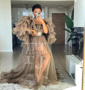Elegant Brown Tulle Dresses Ruffles Sleeve Scoop Neck Extra Puffy Party Dress See Through Women Pography Robes Gown Plus Size Casual