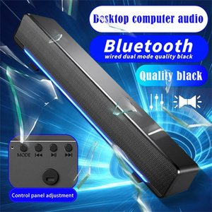 Portable Speakers Usb Computer Bluetooth For Desktop Wired Speaker With Led Lights Volume Control Small Stereo Sound Bar Dual