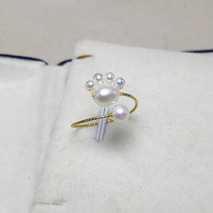 Cute Cat Paw Ring Natural Freshwater Pearl Rings Finger Continuous Circle Minimalist Party Jewelry hand made