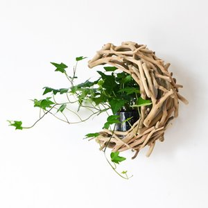Hand-made wood wall Hanging vase with glass tube Hydro culture Plants pot Pearls Natural flower pot wall garden decoration L0409