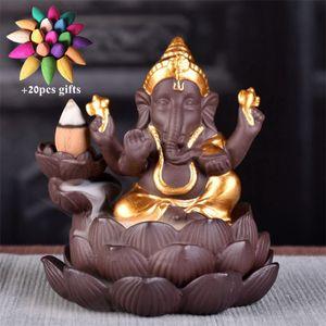 Ceramic India Gold Ganesha Backflow Incense Burner Creative Incense Holder Waterfall Censer Home Teahouse Decor + 20pcs Cones