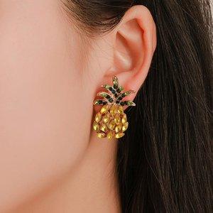 Fashion Jewelry Women's Rhinstone Pineapple Stud Earrings Lady Cute Earring