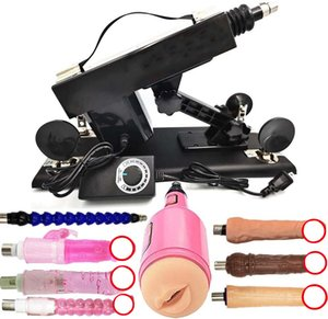 AKKAJJ Automatic Sex Machine Gun Powerful Motor Quiet Telescopic Black Pump Machinegun with 3XLR Connector Attachments