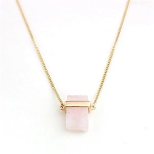 Natural Stone Necklace Rectangle Natural Crystal Stones Pendants Necklace Women Natural Gemstone Jewelry Gift 4 Colors 1115 Q2