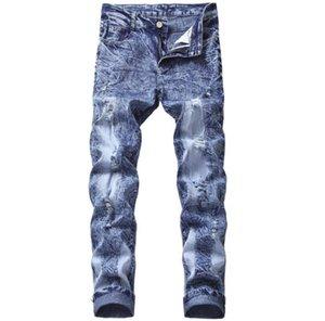 Snow Fashion Brand Lave-motard Jeans occasionnellement décontracté déchiré en coton en coton Denier droit Pantalon long Stretch Slim Pantalon 30-44