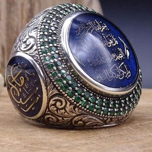 Cluster Rings Punk Large Blue Stone Ring For Men Jewelry Metal Silver Arabic Signet Knuckle Finger Hip Hop