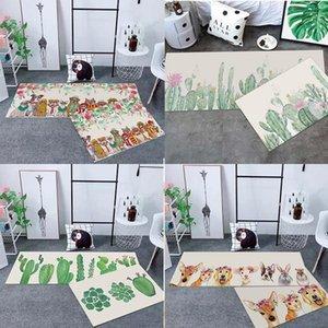 Carpets RULDGEE Light Luxury Carpet 3d Printed Floor Area Rug Animal And Plant Bedroom Bedside Simple Long Strip Kitchen Mat Set