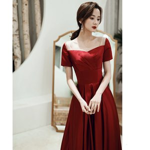 Prom Dresses Toast bridal summer wine red evening slim one shoulder bridal toast