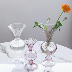 Glass Vase Home Decor Crystal Small Room Flower Pot Hydroponic Plants Container Candle Holder Wedding Decoration Vases