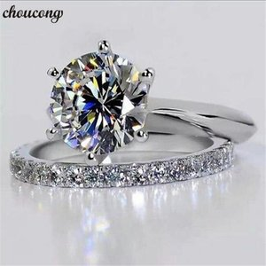 Cluster Rings Choucong Solitaire Bridal Sets Ring 925 Sterling Silver Sona 9mm Cz Charm Wedding Band For Women Party Jewelry