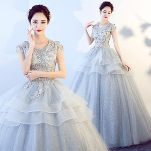 freeship grey light embroidery beading long dress beading medieval Renaissance Victoria dress gown EVENT