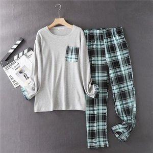 100% хлопчатобумажные мужские плед пижамы набор повседневных больших размеров на дому Ware рукав рубашки брюки 2 шт. / Комплект мужские PJS Большие размеры Кпакотаковка
