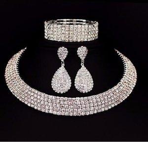 Bride Classic Rhinestone Crystal Choker Necklace Earrings Bracelet Wedding Jewelry Sets Wedding Accessories Bridal Jewelry