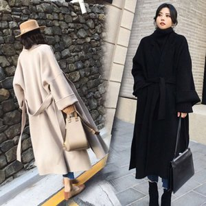 High end cashmere overcoat women's autumn and winter black double-sided tweed jacket medium length