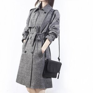 New Spring Autumn Thin Double Breasted Trench Women England Style Plaid Coats Long Sleeve Slim Windbreaker Coat Outerwears Mw383