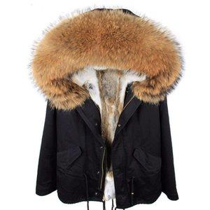 New Parkas Winter Jacket Women Coat Natural Real Raccoon Fur Collar Hood Rabbit Fur Liner Detachable Outerwear Thick