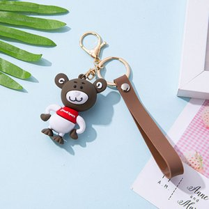 keychains Cartoon cute doll key chain grey mouse stereo large size pendant men's and women's schoolbag car Gift
