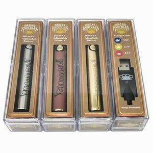 Brass Knuckles E Cigarette Battery 900mAh Vape Pen Voltage Adjustable 3.2V 3.7V 4.1V Wood SS Gold 510 Preheating Batteries