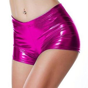 Sexy Bright Leather Women Shorts Fashion Stamping Short Trousers Ladies Casual Solid Color For Pole Dance Women's