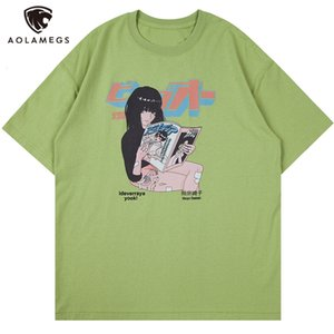 T-shirt da uomo Polos Aolamegs T-shirt Kanji Girl Anime Stampa Casual Streetwear BAGGY HARAJUKU COLLEGE COLLEGAMENTO Camicie manica corta moda Tops