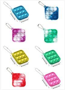 20pcs Multiple styles Mini Push Pop Bubble Sensory Toy Autism Needs Squishy Stress Reliever Toys Adult Child Funny Anti-stress It Fidget Keychain