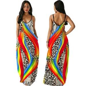 2022 Summer dress Womens Print Flower Outer Lace Cardigan Long Boho Tunic Maxi Dresss Casual Holiday Beach V-neck Wear Sun dresses Single shoulder