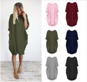 Summer Women Casual Multi-color Dresses Fashion Crew Neck Panelled Ladies Dresses Casual Long Sleeve Loose Women Clothes Plus Size