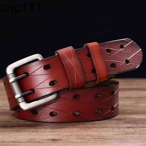 Men's Leather Prong Classic Double Row Hole Universal Hollowed Out Belt Jeans Waistband NEW Belts for Men