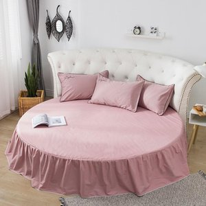 Cotton Bed Skirt Fitted Sheet Round Linen 200cm 220 Cm Bedspreads Mattress Cover Home Decor Pink White Grey Double Sheets & Sets