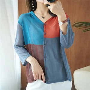 Fashion Patchwork Hooded Sunscreen Cardigan For Women Summer 3 4 Sleeves Thin Knitted Coat Contrast Color Knitwear Jacket Tops 210522