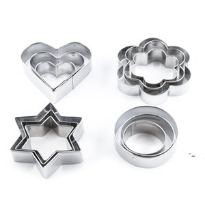 12pcs Stainless Steel Geometric Classic Shape Biscuit Cookie Cutters Set Cake Mould Sugarpaste Decorating Pastry BWE5915