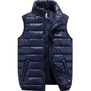Fall Winter Plus Sizes Ultra Thin Down Cotton Puffer Vest Jacket Coats Mens Zipper High Neck Gilet s Jacket with Pockets S-6XL